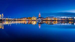 Фото Нидерланды Здания Ночные Залив Kampen blue hour Города