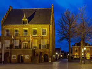 Фото Голландия Дома Деревьев Уличные фонари Oirschot Города
