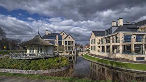 Картинка Голландия Дома Водный канал Забора Vreeland