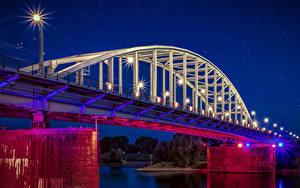 Фотография Голландия Реки Мост Ночь Уличные фонари Arnhem Города