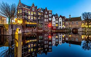 Картинки Голландия Роттердам Дома Речка Отражении Delfshaven