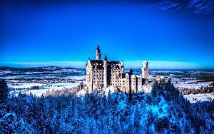 Фото Нойшванштайн Германия Зима Природа