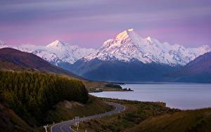 Картинки Новая Зеландия Гора Дороги Озеро Lake Pukaki, Mount Cook Природа