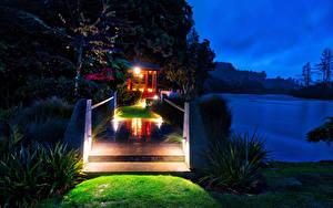 Фотография Новая Зеландия Реки Мосты Ночь Huka Lodge Природа