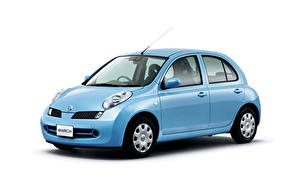 Обои Ниссан Голубая Металлик Белом фоне March 5-door (K12), 2005–07 авто