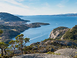 Обои Норвегия Побережье Залив Skorpo