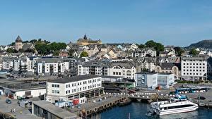 Картинки Норвегия Здания Пирсы Alesund, The og Romsdal город
