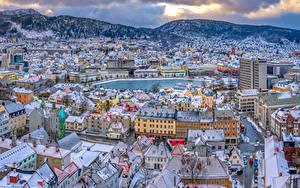 Фотография Норвегия Дома Горы Осло Краши Сверху город