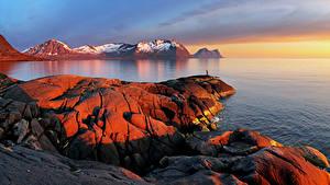Обои Норвегия Лофотенские острова Горы Залив