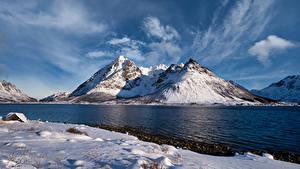 Обои Норвегия Лофотенские острова Гора Облако Higravstinden