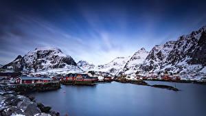 Фотографии Норвегия Лофотенские острова Горы Дома Природа