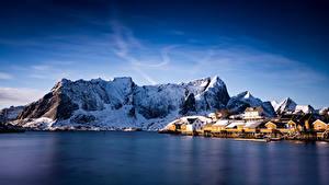 Картинки Норвегия Лофотенские острова Горы Sakrisoy Природа
