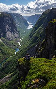 Обои Норвегия Гора Скалы Облачно Долина Hjelmeland