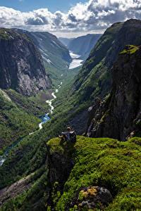 Обои Норвегия Гора Скалы Облачно Долина Hjelmeland Природа