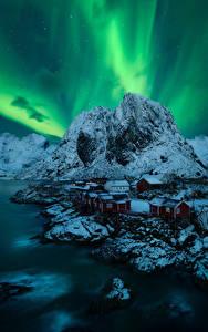 Обои Норвегия Горы Лофотенские острова Северное сияние