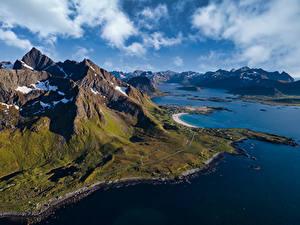 Фотография Норвегия Горы Лофотенские острова Облачно