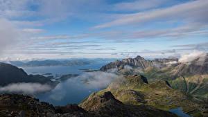 Фотография Норвегия Гора Лофотенские острова Облачно Фьорд Sløverfjorden Природа