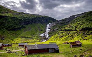 Фото Норвегия Гора Лофотенские острова Облака Ручей