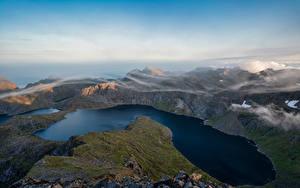 Обои Норвегия Горы Лофотенские острова Озеро Облако Krokvatnet