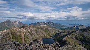 Обои Норвегия Горы Лофотенские острова Облачно Фьорд Laukvik