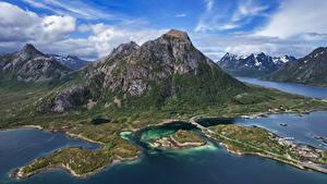 Фото Норвегия Горы Лофотенские острова Фьорд Облачно Laupstad
