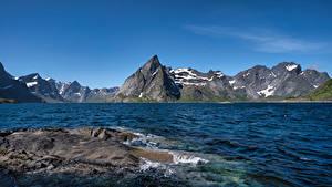 Фото Норвегия Гора Лофотенские острова Небо Скалы Hamnøy Природа