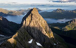 Фотография Норвегия Гора Лофотенские острова Скале Сверху Trakta Природа