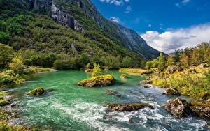 Фото Норвегия Гора Парки Речка Камни Деревьев Folgefonna National Park