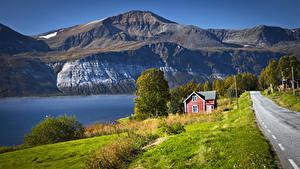 Фотография Норвегия Горы Реки Дороги Дома Ullsfjorden