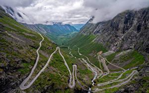 Фотографии Норвегия Горы Дороги Облака Сверху Trollstigen Природа