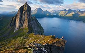 Фотография Норвегия Гора Пейзаж Утес Fjordgard, Segla Mountain