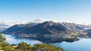 Картинка Норвегия Гора Заливы Сверху Uskedal