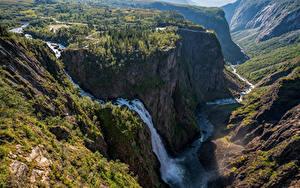 Картинки Норвегия Гора Водопады Скала Деревьев Vøringfossen