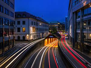 Картинки Норвегия Осло Здания Дороги Ночные Улице Тоннель Едущий город
