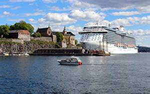 Картинки Норвегия Осло Пирсы Катера Круизный лайнер Regal Princess Города