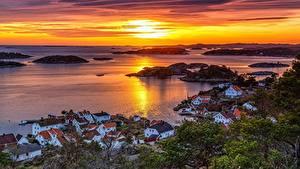 Фото Норвегия Рассветы и закаты Здания Горизонт Сверху Заливы Arendal, Austagder город