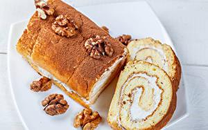 Картинка Орехи Выпечка Рулет Грецкий орех Часть Продукты питания