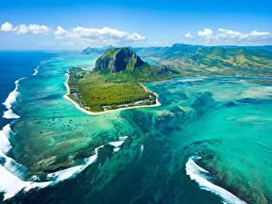 Обои Океан Остров Горы Небо Сверху Mauritius Природа