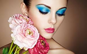 Обои Лица Макияж Красивый Oleg Gekman девушка Цветы