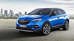 Обои Опель Синих Кроссовер Металлик Grandland X, Turbo, 2017 автомобиль