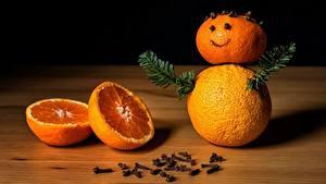 Обои Апельсин Рождество Ветки Снеговик Еда