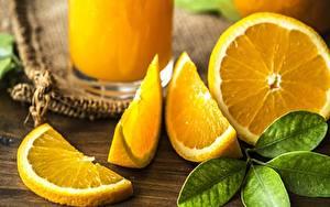 Картинка Апельсин Крупным планом Листья Продукты питания