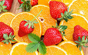 Картинки Апельсин Клубника Крупным планом