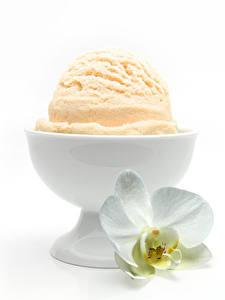 Фотографии Орхидеи Мороженое Белый фон Миска Пища