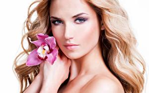 Картинки Орхидеи Белый фон Блондинка Лицо Смотрит Мейкап Девушки