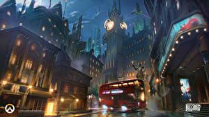 Фотография Овервотч Автобус Дома Улица Лондон Биг-Бен Игры Фэнтези