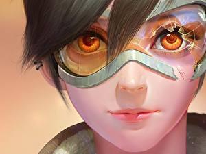 Фото Overwatch Лицо Очки Смотрит Tracer компьютерная игра Девушки Фэнтези