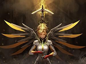 Фотография Overwatch Воин mercy компьютерная игра Девушки Фэнтези