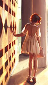 Фотографии Рисованные Сзади Платье Девушки