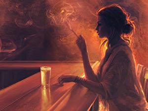 Картинка Рисованные Бар Сигарета Дым Стакане Шатенка Девушки